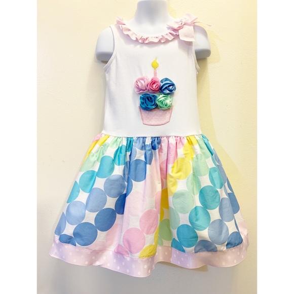 Bonnie Jean Girls Cupcake Multi Color Polka Dot Birthday Party Dress 12M 18M 24M